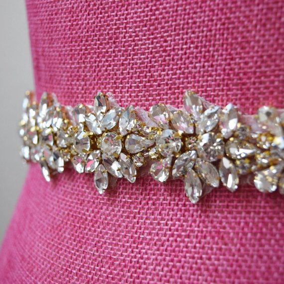 Premium Crystal Thin Gold Rhinestone Bridal Belt in a stunning pattern! The perfect bridal belt for your wedding dress, pageant gown, or