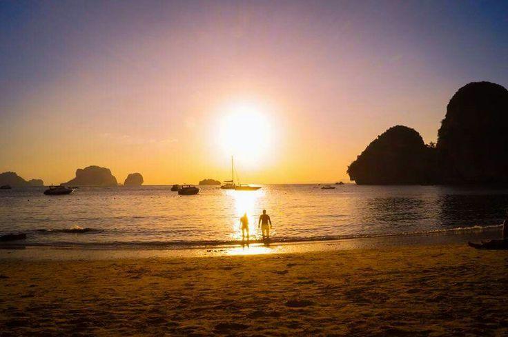 Sunset swim at Krabi -  Thailand  travel traveling backpacking wanderlust digitalnomad digital nomad travelcouple travellove aroundtheworld