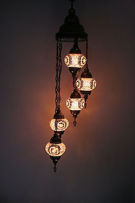 TURKISH OTTOMAN MOROCCAN MOSAIC HANGING 5 PIECE SET CHANDELIER XMAS GIFT