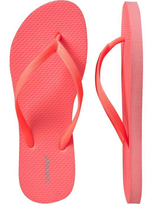 Old Navy Womens Classic Flip Flops- Lotus Neon Orange