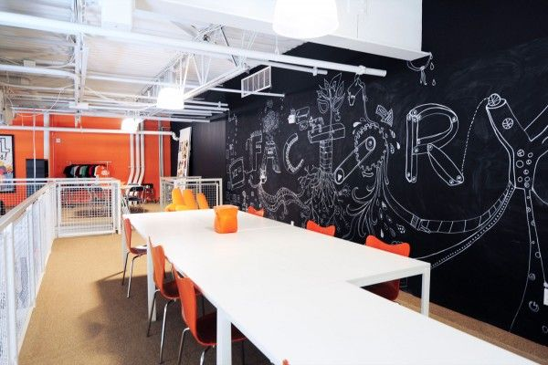 #Office chalkboard--great idea! Use it for decoration, brainstorming, scheduling, etc. #creative #officedecor