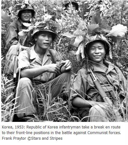 Korean War - 1950-1953- The ROK (Republic of Korea) Army wore helmets and boots and that's how we knew who the enemy was cuz the enemy wore soft hats and soft shoes.
