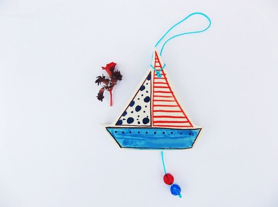 Sailing boat ceramic wall decoration 2 by IoannasVeryCHic on Etsy,