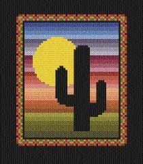 Southwest Cactus cross stitch pattern.