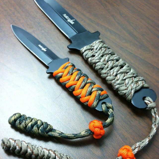 Paracord knife handle wraps.