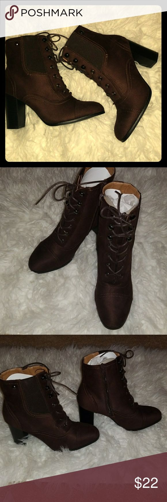 Brand New in Box Brown Ankle Booties Size 8 1/2 Brand new Hot Kiss Brown almond toe ankle Booties. Super cute and comfortable. I have a pair and bought these for my sister in laws bday but they do not fit her. Note:they run small. More like an 8. Hot Kiss Shoes Ankle Boots & Booties