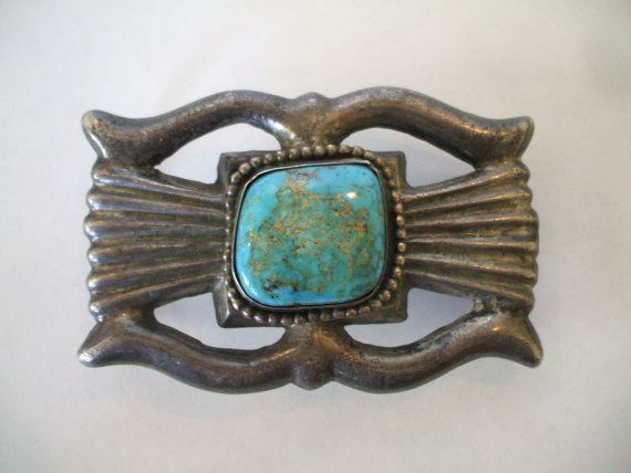 Heavy Vintage Navajo Sandcast Sterling Silver Amp Turquoise