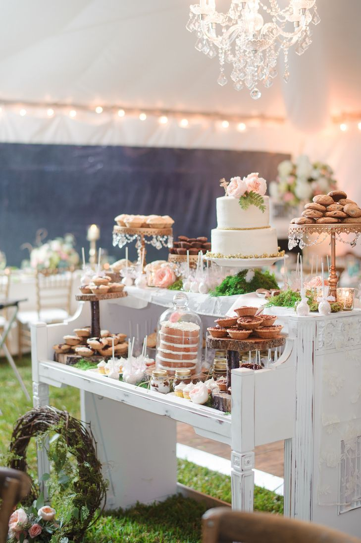 Wedding Desserts on a Piano | Diving Dog Vineyard