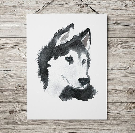 Siberian husky print Watercolor dog poster Cute by DeerAndBadgers