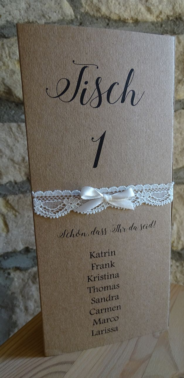 Super Menukaart Bruiloft kraft Kant Plaatskaart Bruiloft, tafelnummer, tafelinstelling  – Dekoration Hochzeit