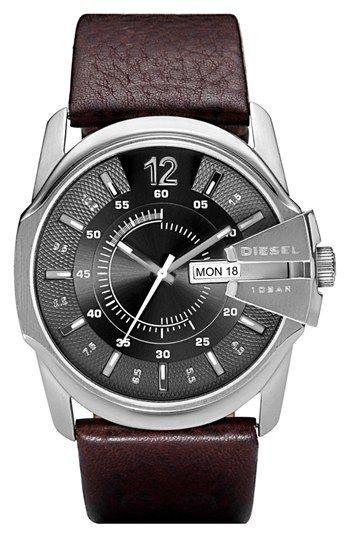 DIESEL® 'Master Chief' Leather Strap Watch, 45mm | Nordstrom