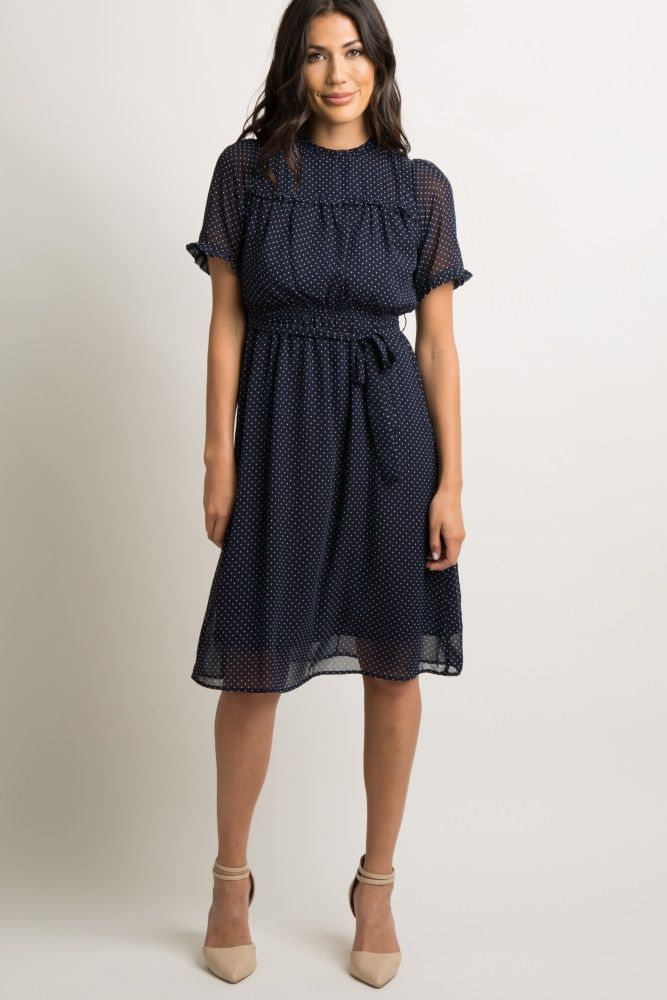 c45cc0461d4b Navy Blue Polka Dot Chiffon Midi Dress