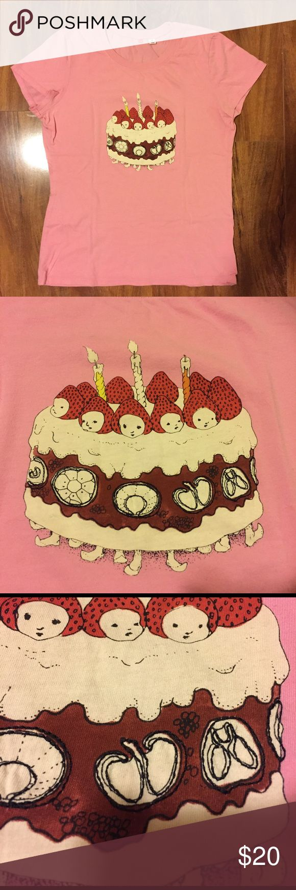 Uniqlo Pink Strawberry Cake T-shirt Size S Uniqlo Tshirt with a cute print by some Japanese artist.  Some parts of the cake has black stitches. Very pink and cute print. Uniqlo Tops Tees - Short Sleeve
