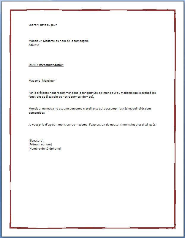 Lettre De Recommandation Employeur | Lettre de ...