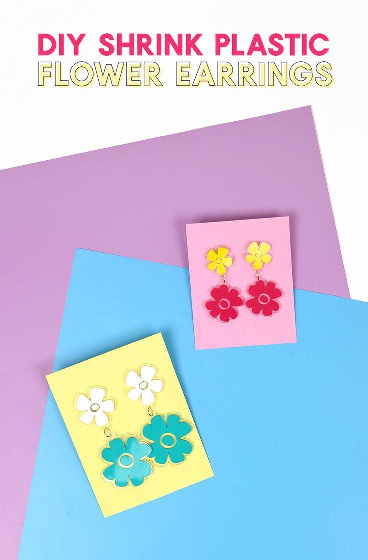 DIY Shrink Plastic Flower Earrings with Free Cut Files - Persia Lou