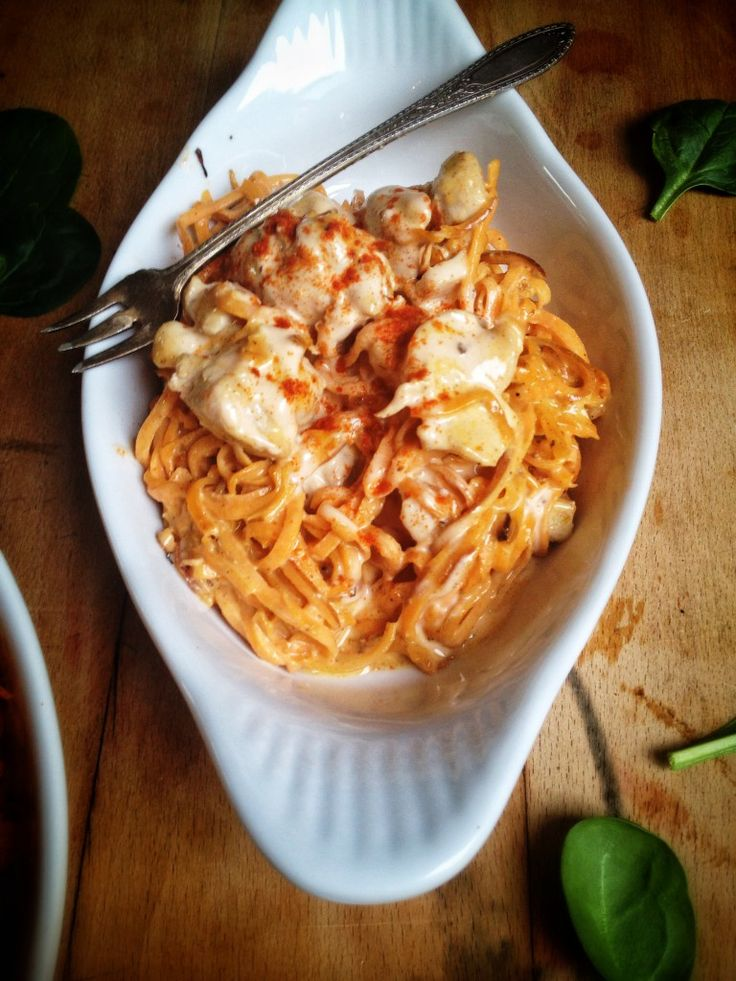 Buffalo Chicken Alfredo with Sweet Potato Pasta. (Paleo, Dairy/Egg/Gluten/Grain/Nut Free)