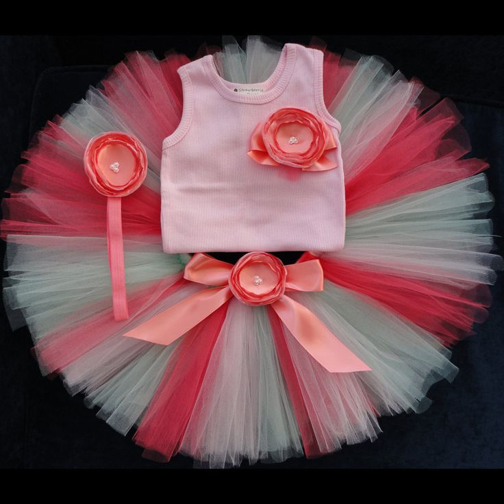 Baby Girls Birthday Tutu Dress Outfit  Coral Mint Pink Baby Girls 1st Birthday Dress Tutu by StrawberrieRose on Etsy