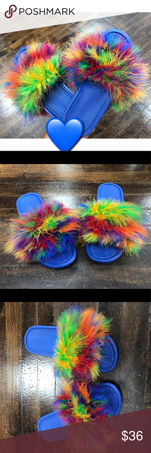 Fluffy Fur Slides ✨ These are FLUFFY SLIDES that all the Celebrities are wearing. All colors are available and colors can be mixed ❤️ Black and Blue Base Available   Made upon request. Leave color and size down below ( THEY AREN'T NIKE)  Please don't purchase this listing. I'll make you a listing with your size and color.   S ( 5-6) M ( 7-8 ) L ( 9-10 ) XL ( 11-12 ) Shoes Slippers