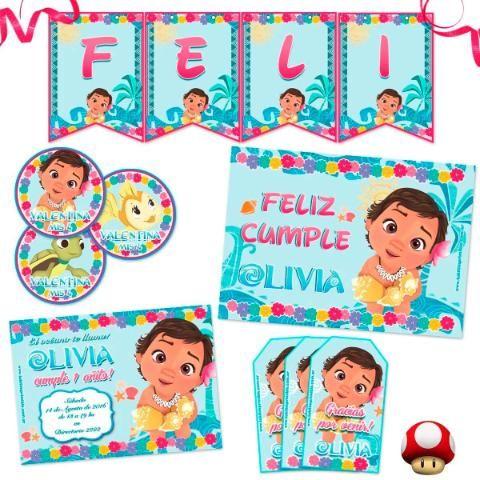Kit Moana Bebe Impreso Invitaciones, Stickers, Banderín  Kit ...