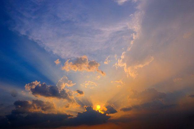 Epic Dramatic Sunset Beautiful Yellow Orange And Blue Colors Sunset Sky For Background Sunset Sky Best Background Images Sky Photoshop