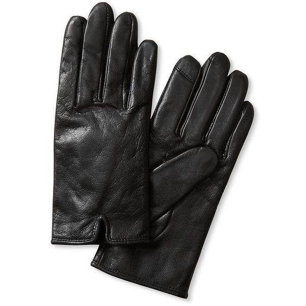 Banana Republic Notched Leather Glove Size S - Black (5.285 RUB) ❤ liked on…