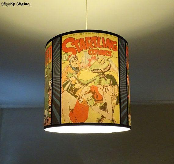 Comic Covers pendant lamp shade lampshade - lighting, comic book, geek decor, drum lamp shade, yellow lamp shade, pin, up, dorm room