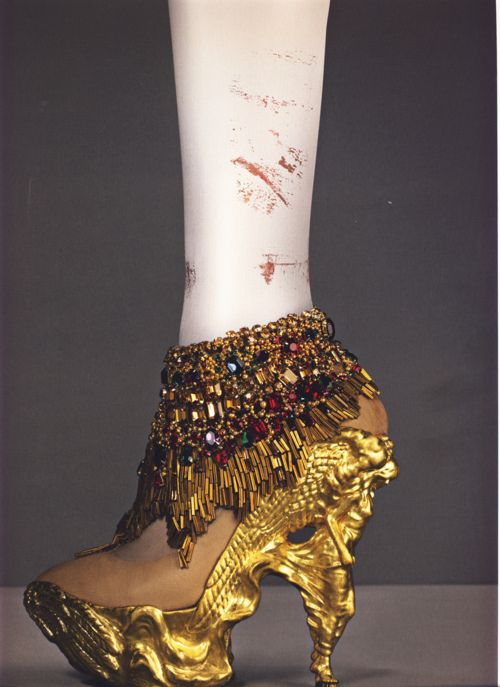 Alexander McQueen Autumn/Winter Shoe Nylon composite painted gold, plastic  beads, and gemstones Photographed by Sølve Sundsbø for Alexander McQueen:  Savage ...