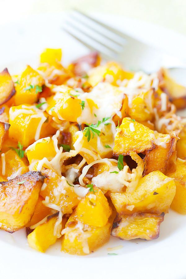 Garlic Parmesan Roasted Butternut squash - sweet tender butternut squash roasted with butter, garlic & Parmesan cheese. So AMAZING you want it every day | rasamalaysia.com