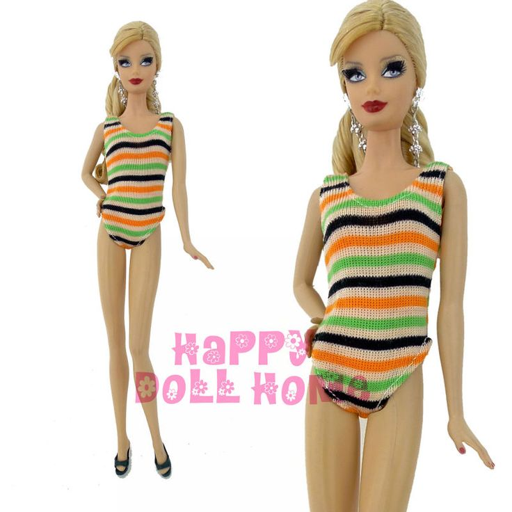 One Piece Stripes Style Swimsuit Summer Fashion Sea Beach Bathing Pool Cloting Clothes Slippers For Barbie Doll Play House Toys