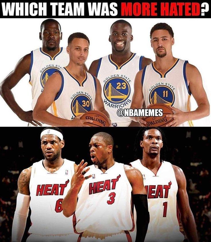 regram @nbamemes_official  Who do you hate more? #WarriorsNation #HeatNation #Miami #Heat #MiamiHeat #Warriors #GoldenState #LeBron #LeBronJames #dwyanewade #chrisbosh #Steph #StephCurry #StephenCurry #KlayThompson #Draymond #DraymondGreen #Durant #KevinDurant #NBA #NBAFinals #playoffs #basketball http://ift.tt/2rTheFJ