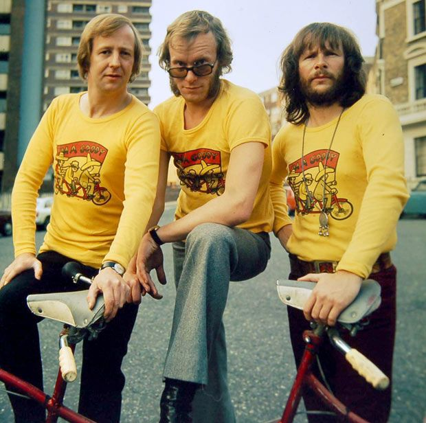 The Goodies - had a t-shirt made with their name on it. Remember the one where they were trapped in a dinosours gut??! Bill Odie, Tim Brook Taylor and... who was the other one? Goodie goodie yum yum
