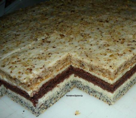 poppyseed layer, walnut layer, chocolate layer - cake striped Croatia