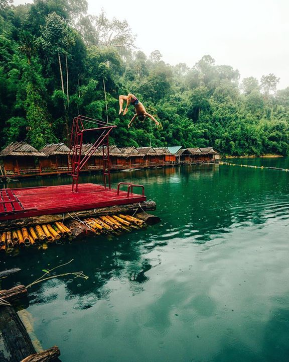 Monsoon season in Southern Thailand can be unpredictable. Rain can come at any moment it seems changing the landscape from clear skies to dark cast and low clouds. Luckily when the lake is warm and the cabins have a jumping platform you can still swim when it's raining!  #wheretowillie