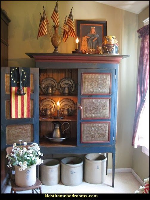 primitive americana decorating ideas-rustic colonial style decorating ideas