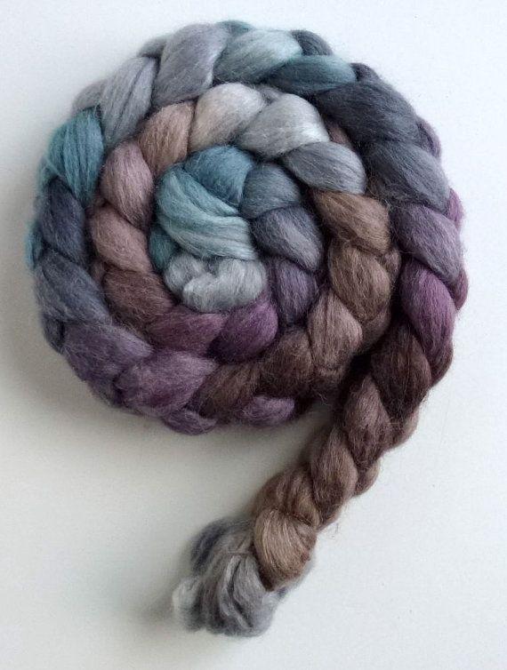 Spinning roving, unspun wool, Alpaca, Merino, Silk, Three Waters Farm