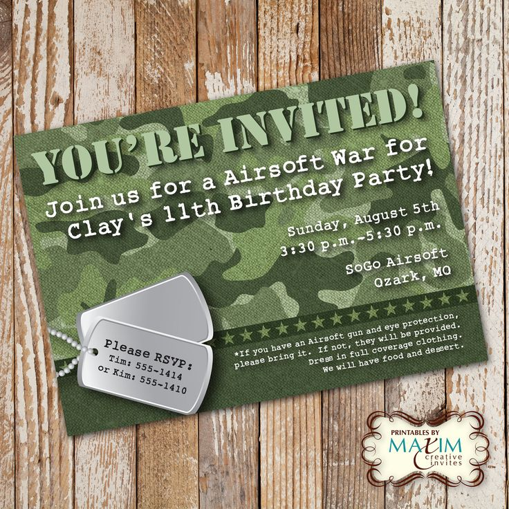 101 best army party theme images on pinterest | birthday party, Birthday invitations