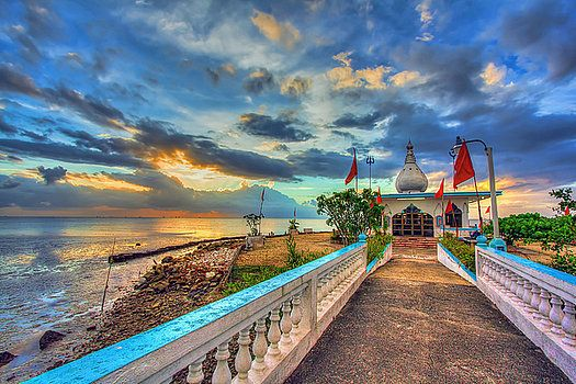 Sunset at The Temple in the Sea on the island of Trinidad in the Caribbean.