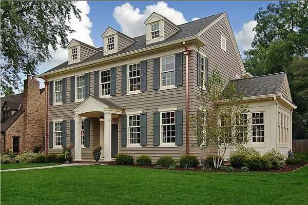 47 best images about exterior paint on pinterest for Tan siding shutter color combinations