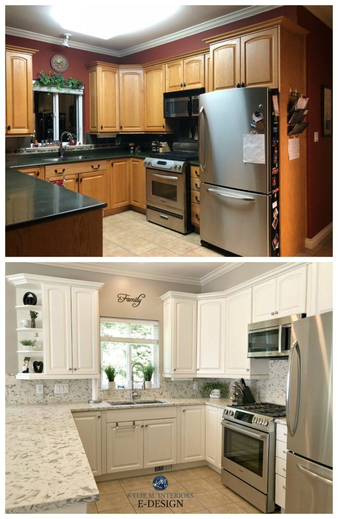 E Design An Oak Cabinet Makeover With White Dove In 2020 Kitchen Diy Makeover Kitchen Remodel Kitchen Design