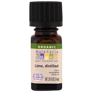 Aura Cacia, <b>Organic Lime</b>, distilled, .25 fl oz (7.4 ml) - iHerb.com