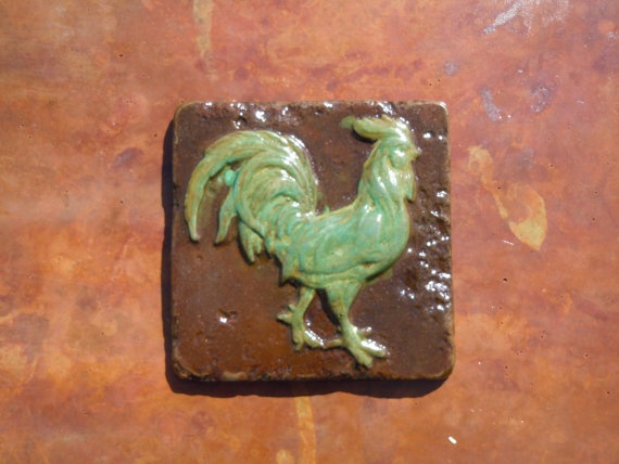 concrete rooster tile by concreteyarddecor on etsy 800 - Concrete Tile Garden Decor