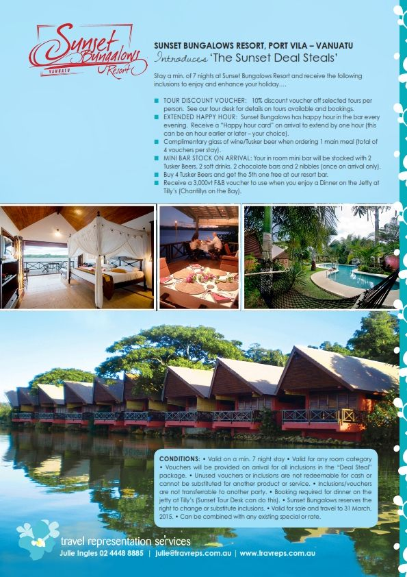 Fabulous deals from Sunset Bungalows Resort, Vanuatu.