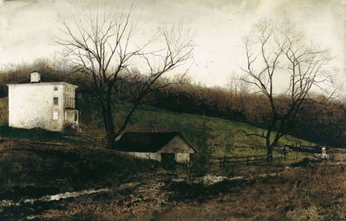 """paintedout: """" Andrew Wyeth, Evening at Kuerners, 1970, drybrush on paper """""""