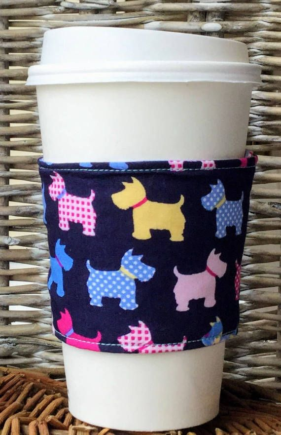 Reusable coffee cup cosy in dog print fabric  navy / pink /
