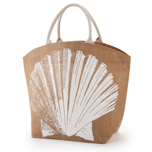 Seascape Jute Tote Bag -- seashell, spiral shell, and starfish (R Women).  Two's Company.