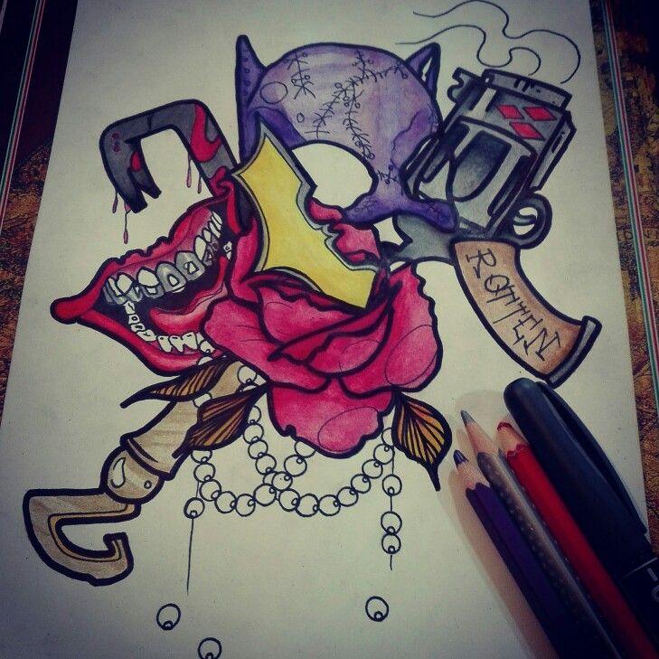 #batman #joker #laugh #gun #necklace #rose #neotraditional #tattoo #pain #rotten #mouth #flower