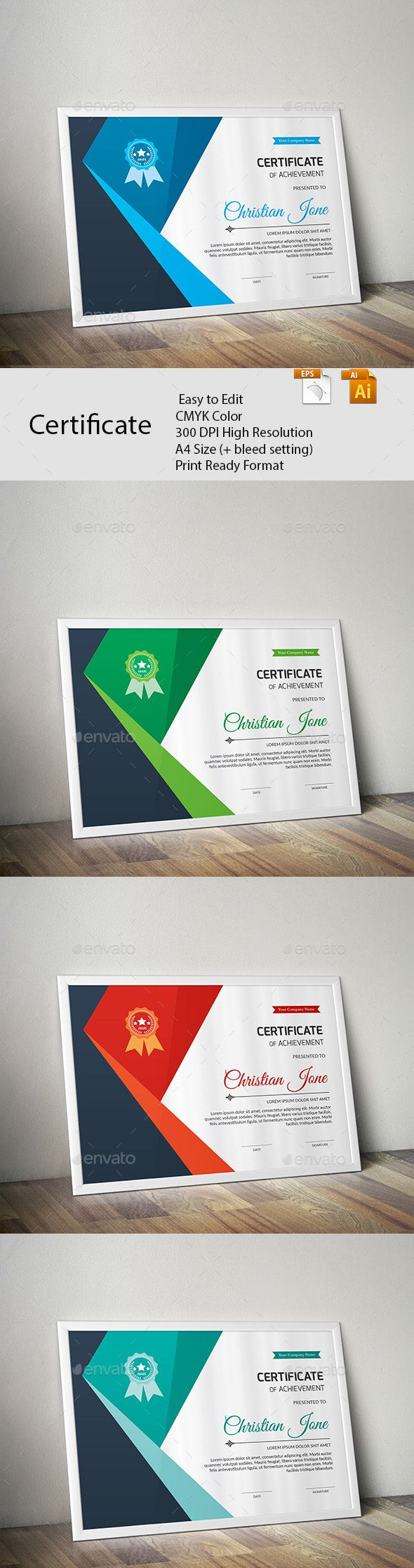 Certificate A GREAT CREATIVE CERTIFICATE TEMPLATE FOR CREATIVE PERSON. FEATURES:      Easy to Edit     CMYK Color     300 DPI High Resolution     A4 Size (+ bleed setting)     Print Ready Format     Free Fonts      FILES INCLUDES:     8 Ai & EPS files     read me.pdf      FONTS USED: