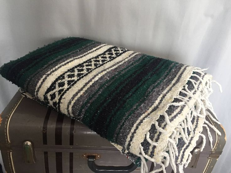 Green Blanket Southwestern Striped Cream White Black Fringe Tassles Vintage Boho Home Decor by CliftonSupplyCompany on Etsy https://www.etsy.com/listing/518114952/green-blanket-southwestern-striped-cream