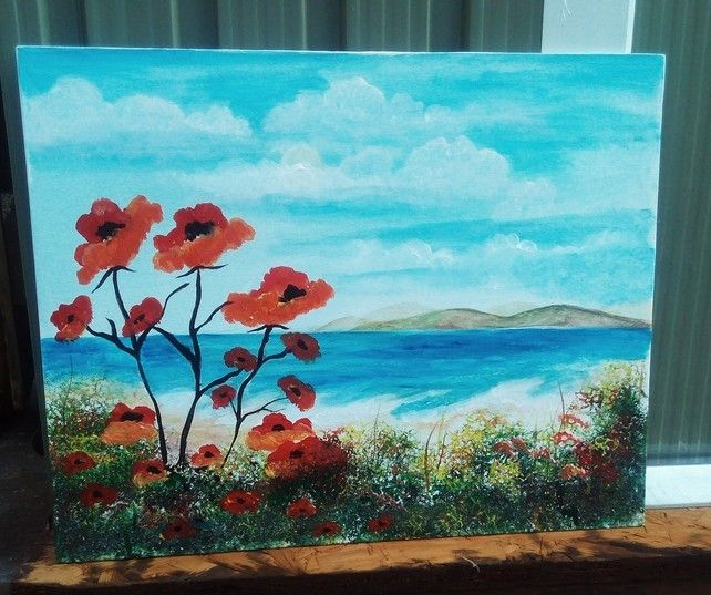 Surreal Scenic Poppy Invasion, Red Poppies Sea View, Canvas Board Painting £45.00