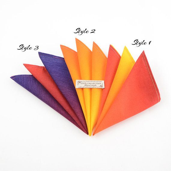 Beautiful and perfectly finished multi-colour gradient cotton handkerchief. Available in 3 designs and 3 sizes.  Limited edition no more than 5 pieces/sets on each design.   Fabric : 100% Cotton  Dimensions : 11 inch, 13 inch and 15 inch.  We also have matched bowtie which has different colours on each side so you can get two different finishings out of one pair.